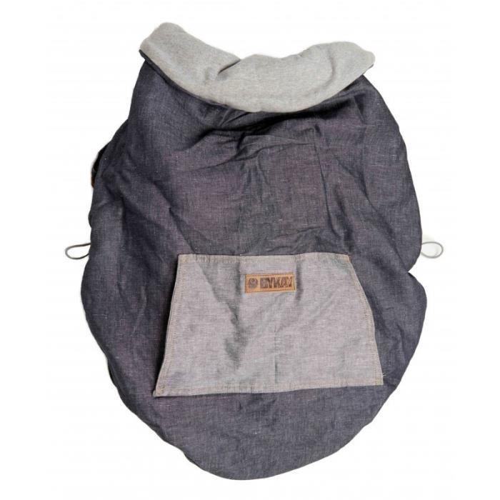 PORTE BÉBÉ Couverture de portage reversible gris / denim