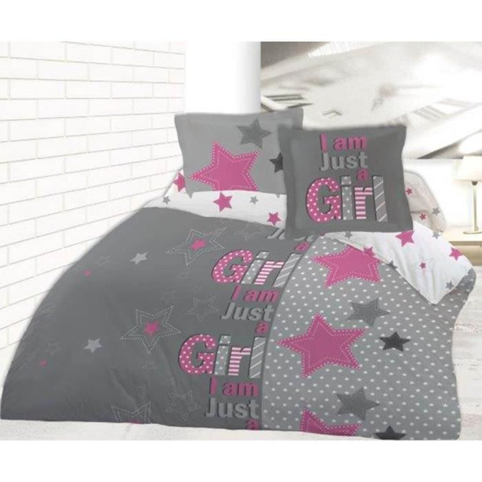 housse de couette just a girl 220x240 avec 2 taies assorties 65x65 100 coton achat vente. Black Bedroom Furniture Sets. Home Design Ideas