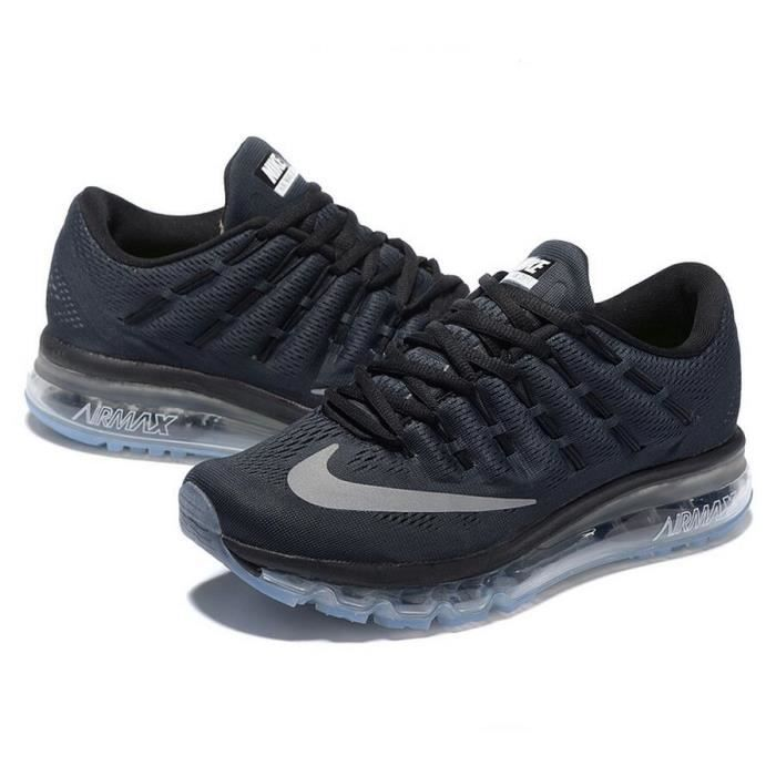 hommes nike air max 2016 chaussures de running noir et gris tu achat vente basket cdiscount. Black Bedroom Furniture Sets. Home Design Ideas
