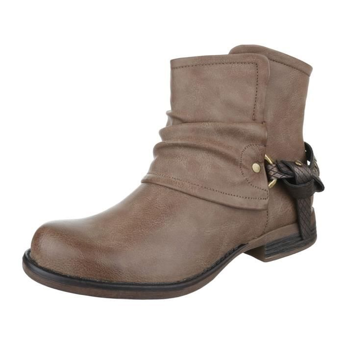 femme bottine chaussure Biker botte Optik d'occasion marron clair LFMAqlfgGj