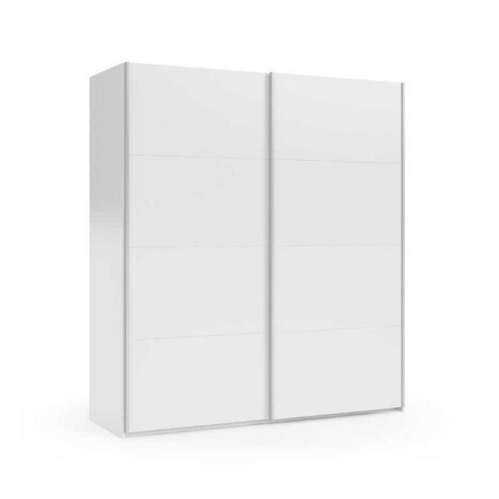 ARMOIRE DE CHAMBRE Armoire 2 portes coulissantes Blanc brillant - PIS