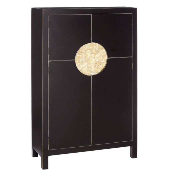 armoire secr taire noire meuble chinois pekin l 80 x l 35 x h 130 cm achat vente armoire. Black Bedroom Furniture Sets. Home Design Ideas