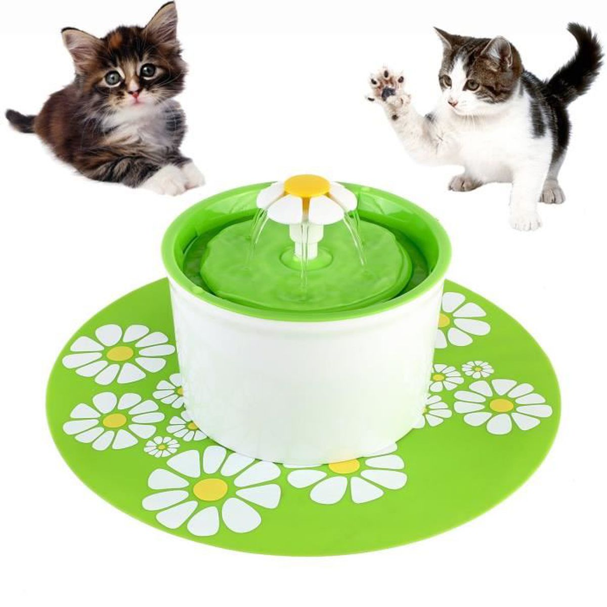 Fontaine à Fleur Pour Chat Automatic Electric Flower 1.6 L Distributeur Eau Vert Pet Supplies