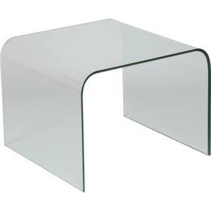 BOUT DE CANAPÉ Bout de canapé design carré en verre trempé courbé