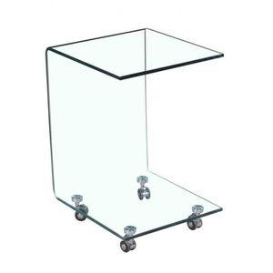 TABLE D'APPOINT Table d'appoint carrée en verre - bout de canapé t