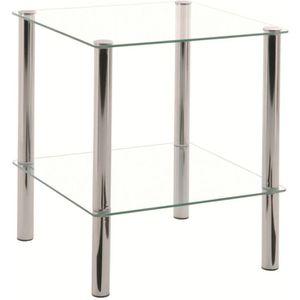 TABLE D'APPOINT Table d'appoint Belly chrome et verre trempé trans