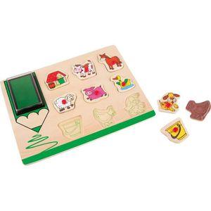 PUZZLE Puzzle et Tampons en Bois animaux de la ferme