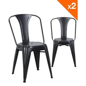 CHAISE Kayelles chaise metal industriel BROOK - Lot de 2