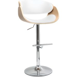 TABOURET DE BAR Miliboo - Tabouret de bar design blanc et bois cla