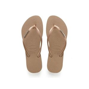 TONG Havaianas Slim Logo Metallic Tongs Or Rose 5-5.5