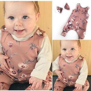 Bébé Filles Fleur Ange body combinaison bandeau Tenues Vêtements Set