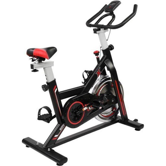 Vélo d'Appartement avec Résistance Réglable/Poignée d'Impulsion, Charge Max: 120KG Volant d'inertie 8Kg