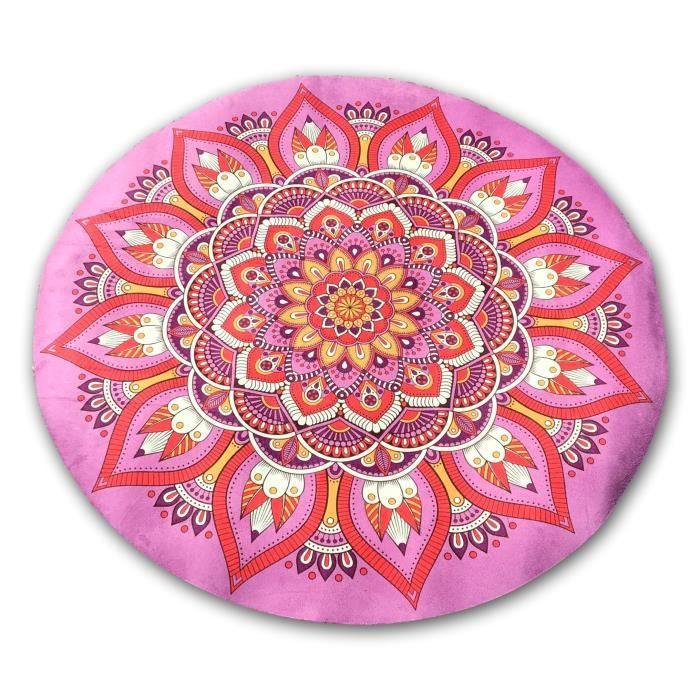 Tapis de méditation rond mandala rose Rose