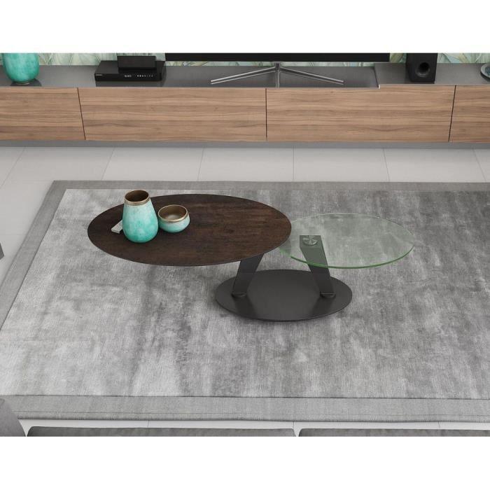 Table basse 2 plateaux pivotants ovales - céramique acier et verre - L95 x P60 x H43 cm