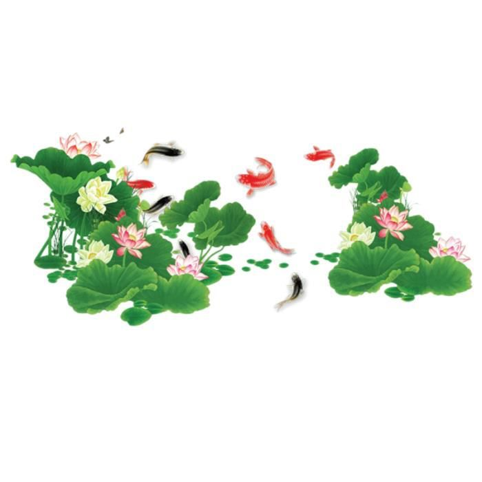 1 PC Non-toxique Peel and Stick DIY Creative Amovible Lotus Pond Wall Sticker Art Papier Peint Stickers Muraux