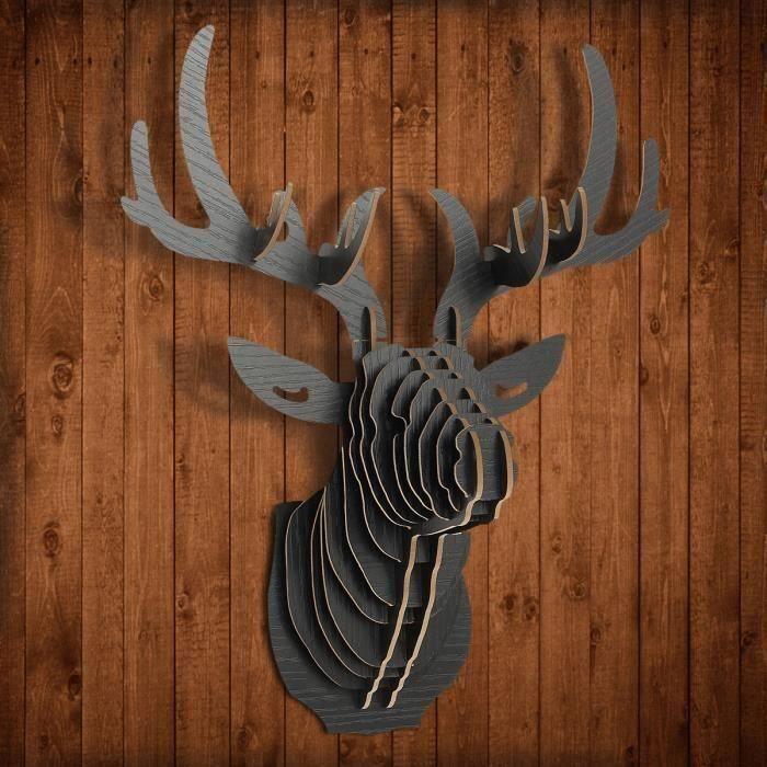 JL Mei DIY 3D Tête Cerf Wapiti Bois Objet de Décoration Mural Noël Noir - JLMLR824AA0271