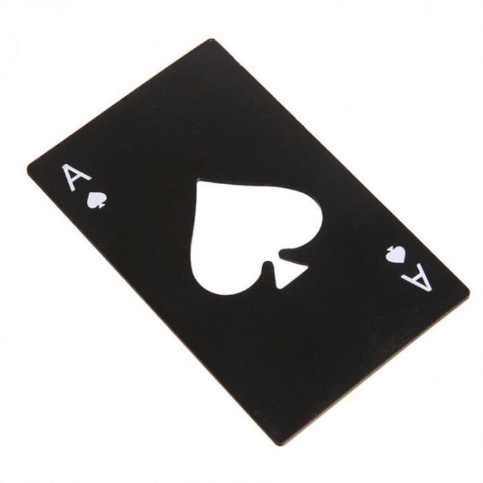 Ouvre bouteille de Poker et de bière - Nouvelle offre spéciale élégante 1 pièce, carte de jeu de Poke - Modèle: Black - WMKPQA02166