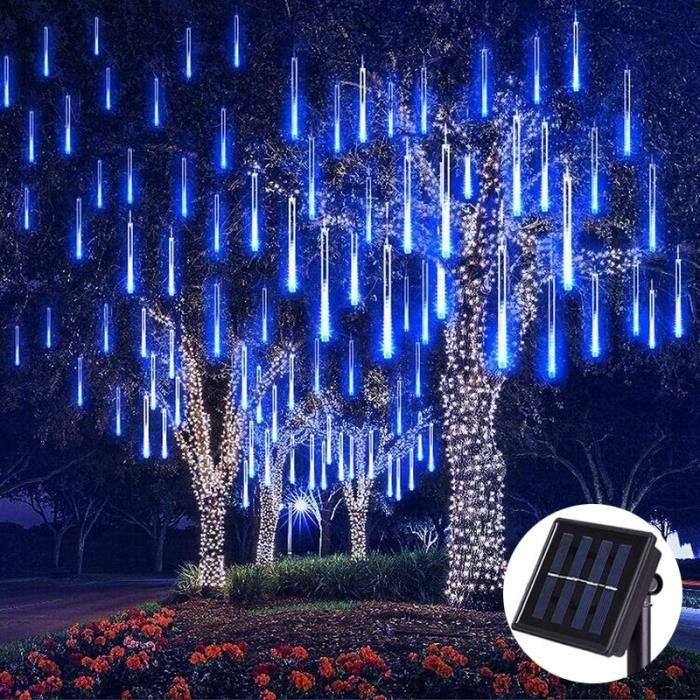 Guirlandes lumineuses pluie de météores LED solaire étanche, 8 Tubes, 144 LED, décoration de noël et de mari Warm White -AOAE15515