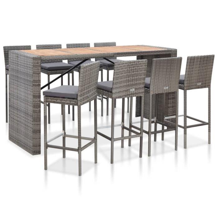 Ensemble Table de bar + 8 tabourets bar Mange-Debout Table Haute - Résine tressée et bois d'acacia Gris