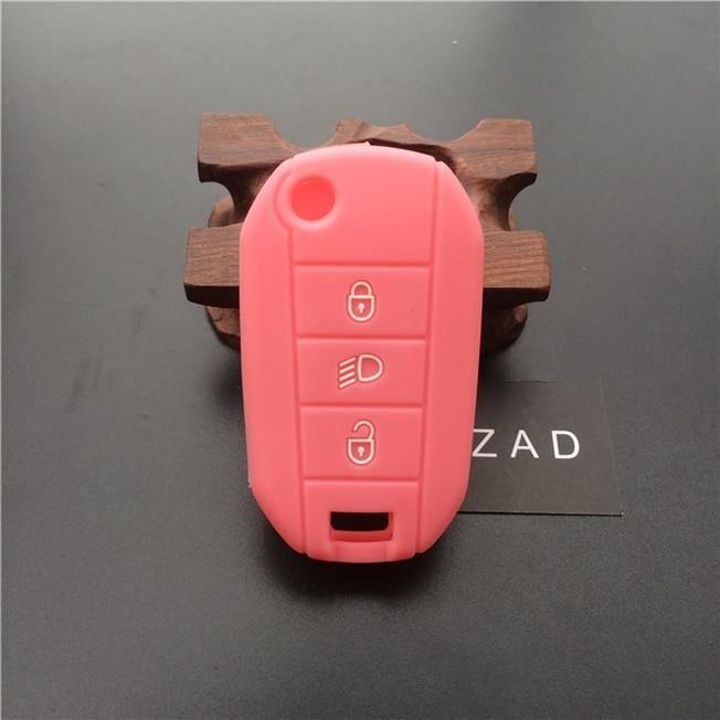 ZAD etui de clés de voiture - En silicone, protection de peau, pour Peugeot 3008 208 308 508 RCZ 408 2 Rose