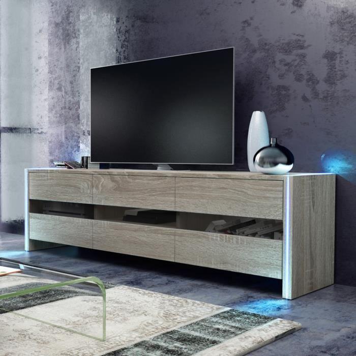 Meuble tv / Meuble de salon - INCHEL - 139 cm - effet chêne - portes vitrées - avec LED - style moderne