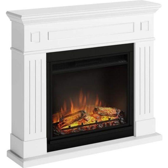 Ensemble de foyer électrique Tagu Pure White modèle Larsen et brûleur électrique de 23 po à cadre blanc pur