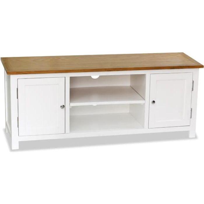 Meuble TV Moderne - Bois de chêne Massif - Décor blanc et marron - Meuble de Rangement - 120 x 35 x 48 cm
