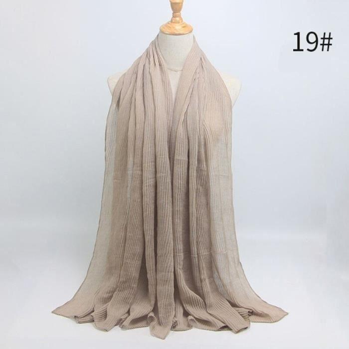 Foulard hijab en coton froissé, écharpe douce, écharpe chaude, écharpe chaude, châle, 25 couleurs, Design hiver, tendanc DY5172