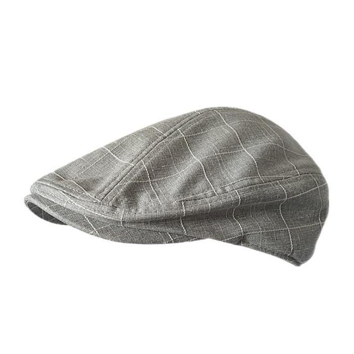 BUTTERMERE casquette plate pour hommes, en coton à carreaux, casquettes de conduite, Vintage, gris c Light Grey XL above 60 cm