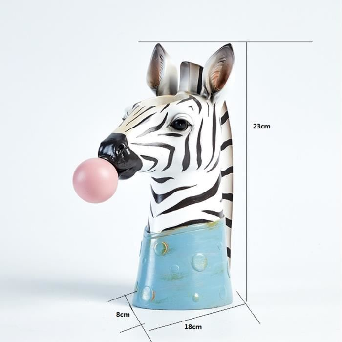 Vase,Résine dessin Animé Animal tête Vase Pot de fleur bulle gomme zèbre girafe Panda cerf lapin ours Animal artisanat - Type Red