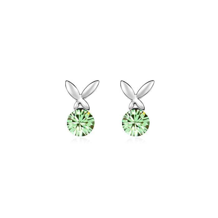 Boucles d'oreilles Papillon en Cristal de Swarovski Element Vert et Plaqué Or Blanc