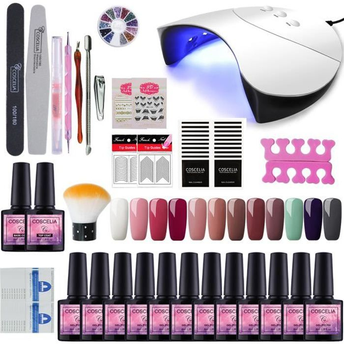 COSCELIA Kit Manucure Vernis Semi Permanent - 12 Pcs Gel Nail Polish 36W Lampe UV LED Base coat Topcoat Outil Manucure Complet Kit