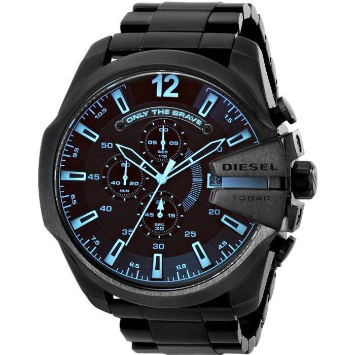 Montre Diesel Homme DZ4318 Chief Series Noir Stainless Steel Watch - Bracelet en acier inoxydable - à quartz montre