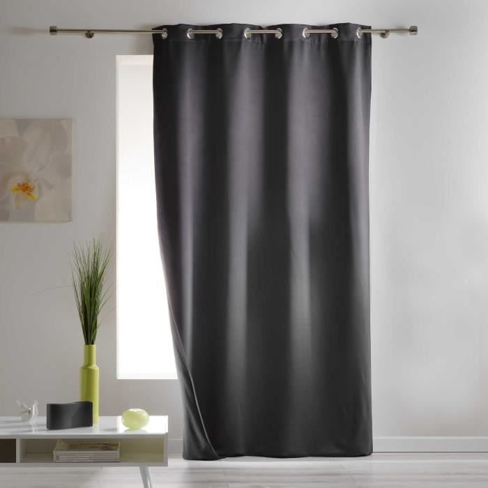 CDaffaires Rideau a oeillets 140 x 260 cm occultant isolant covery Anthracite