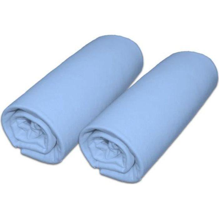Lot de 2 draps housse pour matelas 60x120cm coloris bleu