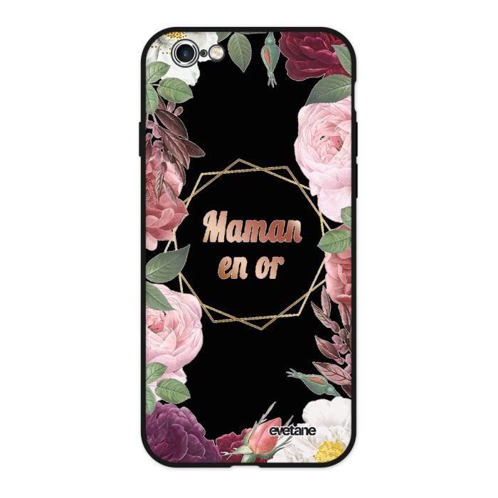 Coque pour iPhone 6/6S Silicone Liquide Douce noir Coeur Maman D'amour Ecriture Tendance et Design Evetane