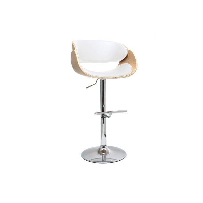 Miliboo - Tabouret de bar design blanc et bois clair BENT