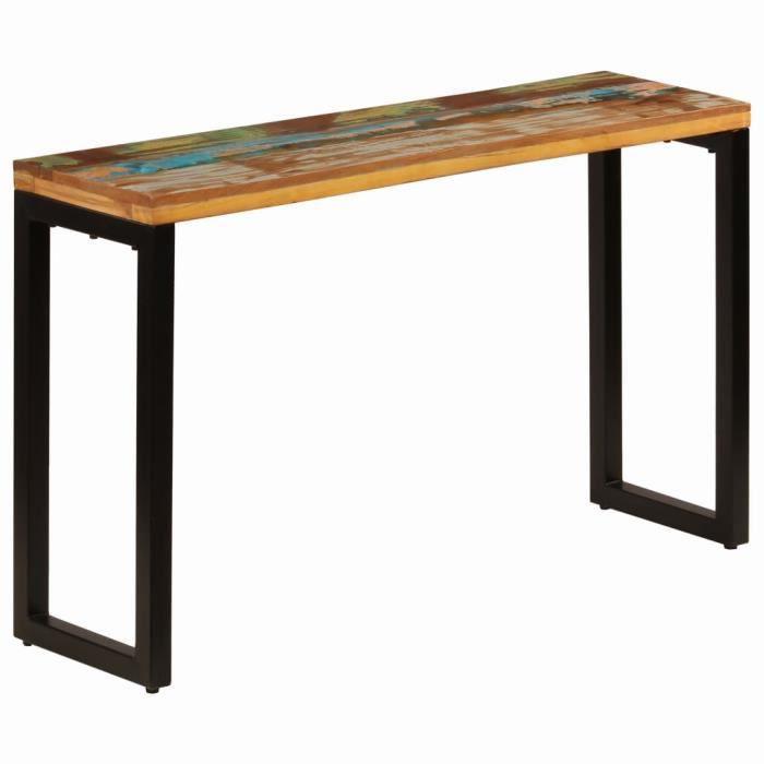 Table console extensible Table d'Appoint Table d'entrée contemporain 120x35x76 cm Bois de récupération solide et acier