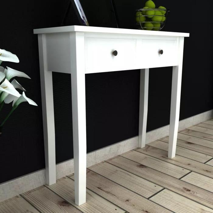 Table de console et coiffeuse avec 2 tiroirs Blanc