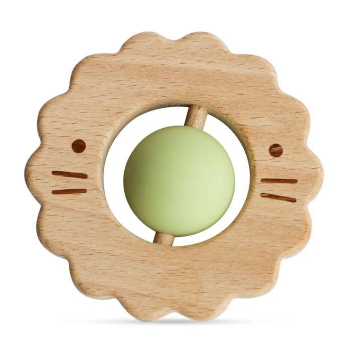 Jouet de dentition en bois et silicone Vert environ 9 cm de diamètre