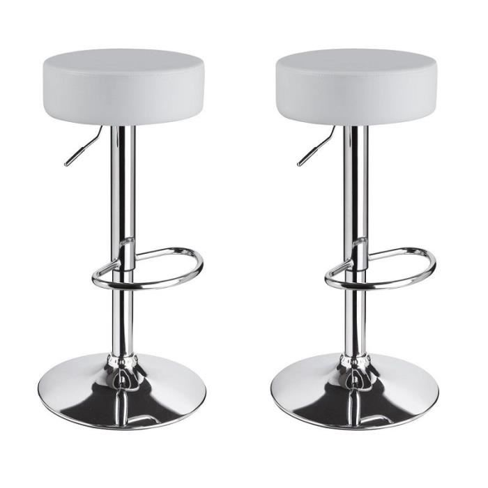 Lot de 2 tabourets de bar cuisine blanc r glable achat for Housse de tabouret de bar