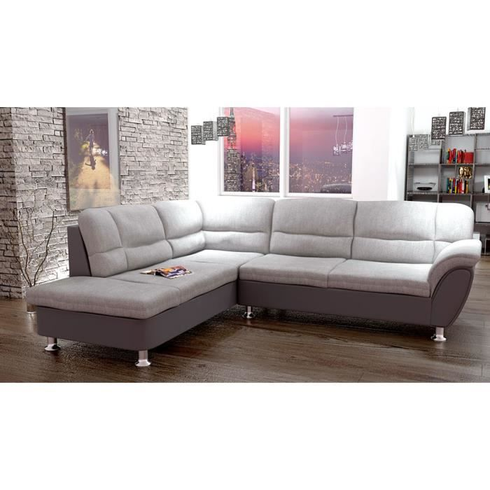 canap d 39 angle convertible gris en pu et tissu nazzario a gauche achat vente canap sofa. Black Bedroom Furniture Sets. Home Design Ideas