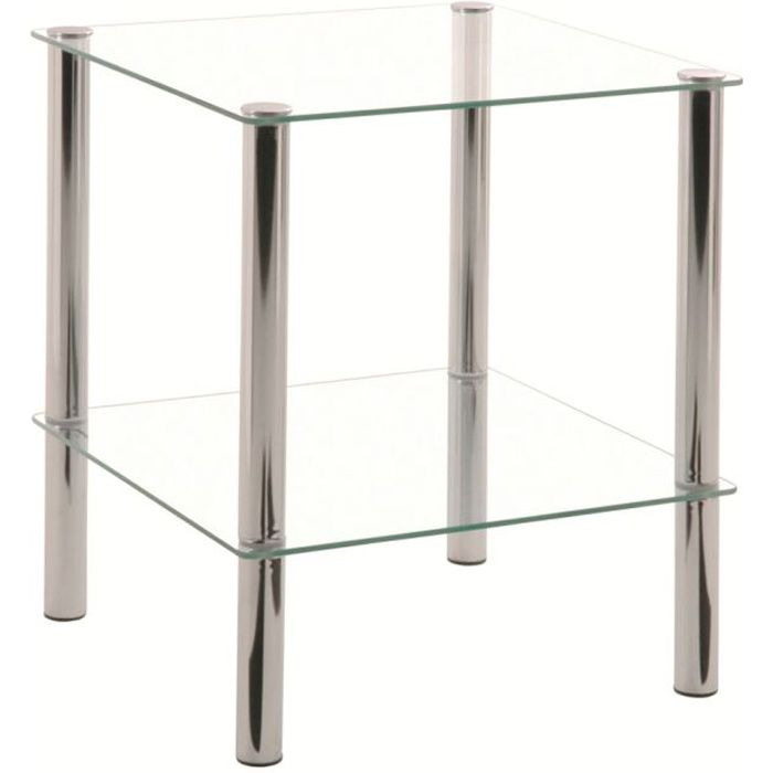 table d 39 appoint belly chrome et verre tremp transparent achat vente table d 39 appoint table d. Black Bedroom Furniture Sets. Home Design Ideas