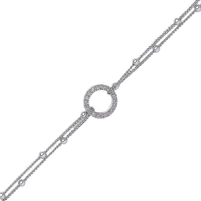 Jewelco London Plaqué Rhodium Argent Sterling Blanc Ronde brillant Zircone cubique Pavé de halo perlé Bracelet