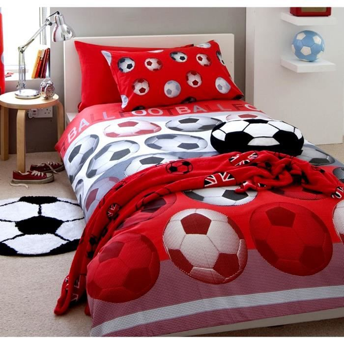 parure de lit football rouge lit 1 personne achat vente parure de drap cdiscount. Black Bedroom Furniture Sets. Home Design Ideas