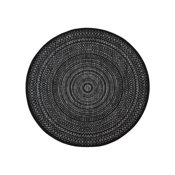 tapis rond int rieur ext rieur en polypropyl ne spirale g om trique jake noir achat. Black Bedroom Furniture Sets. Home Design Ideas