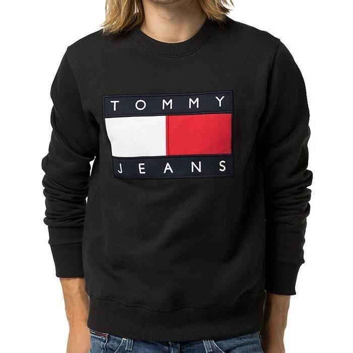 pull sweat shirt tommy hilfiger homme dmodm01567 noir noir noir achat vente sweatshirt. Black Bedroom Furniture Sets. Home Design Ideas