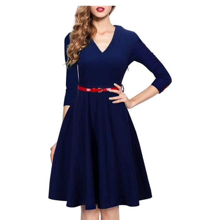 Élégant col en V Empire Chic féminin Swing Party Dress Uka006 2CXU4I Taille-40