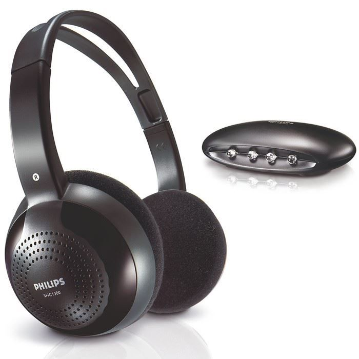philips shc1300 casque sans fil tv noir casque. Black Bedroom Furniture Sets. Home Design Ideas