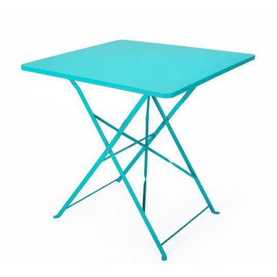Table de jardin pliante carr e 70 x 70 cm bleu achat for Table de bistrot pliante